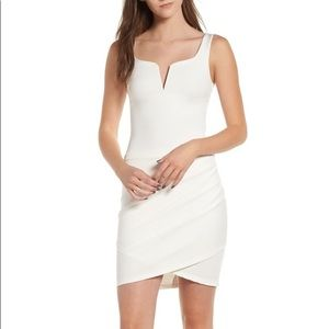Tiger Mist Ruched Bodycon Dress • White • S